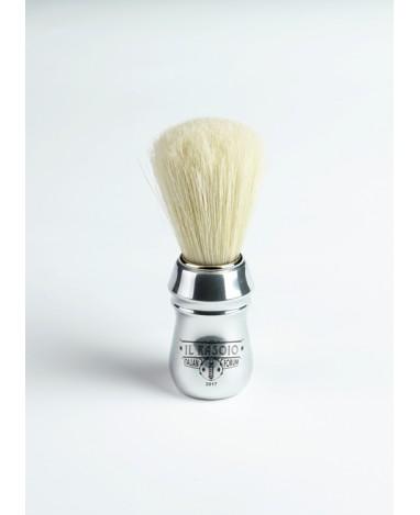 """Pennello da barba in setola manico in alluminio """"Ilrasoio.com"""""""