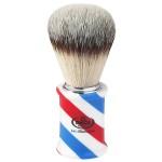 Omega Pennello da barba sintetico manico in resina bianca/blu/rossa